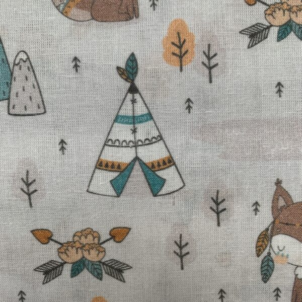 Baumwolle Druckstoff Indianer Tipi Fuchs