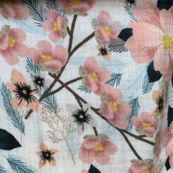 Musselin Gauze Blumendruck Blumenmuster