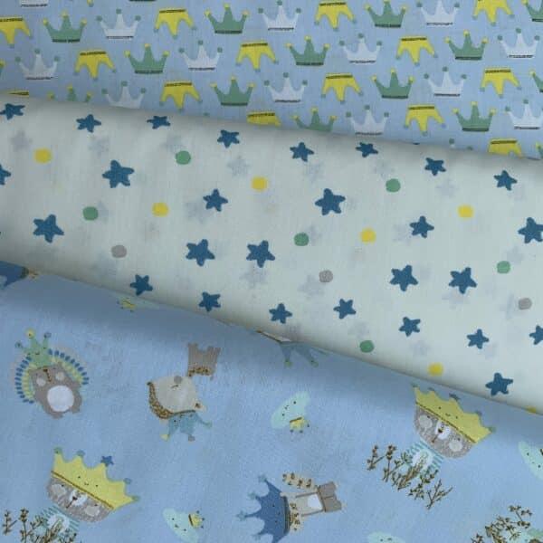 Baumwoll Druck Kronen Sterne