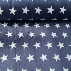 Flanell Fleece Sterne Marineblau