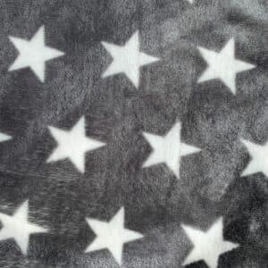 Flanell Fleece Sterne Grau